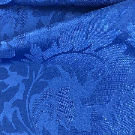 Tecido Jacquard Florata Adamascado Floral Azul Royal
