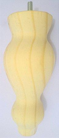 Pé Clássico Bolas em Madeira Cru com 18 cm de altura