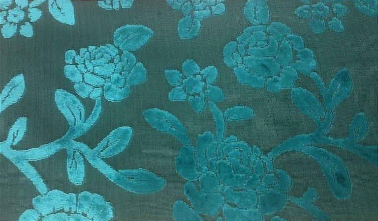 Tecido veludo Gold Floral Azul Turquesa 06
