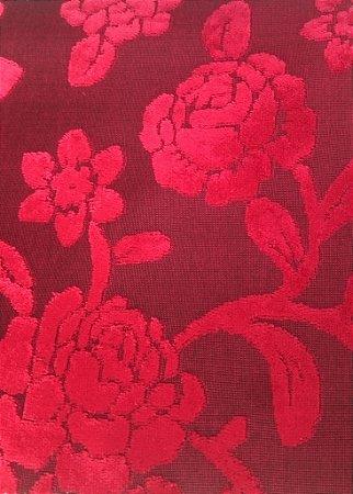 Tecido veludo Gold Floral Vermelho 05