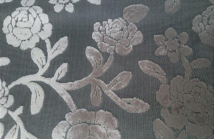 Tecido veludo Gold Floral Chumbo 02