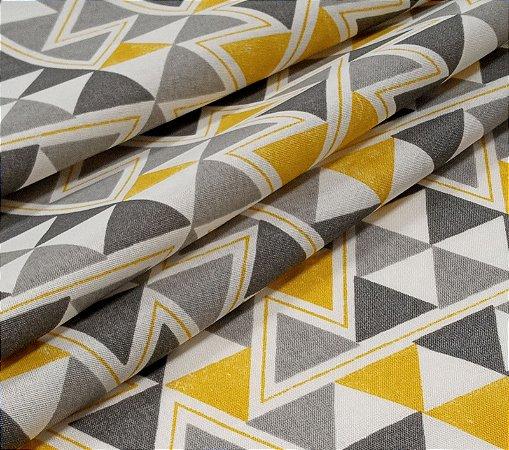 Tecido para Moveis Geométrico Tons de Cinza e Amarelo - AcquaLine 8716