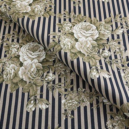 Tecido algodão impermeabilizado Floral Marinho e Cru Sev 02