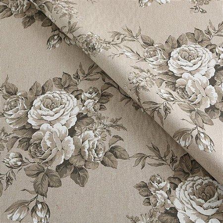 Tecido algodão impermeabilizado Floral Areia Sev 18