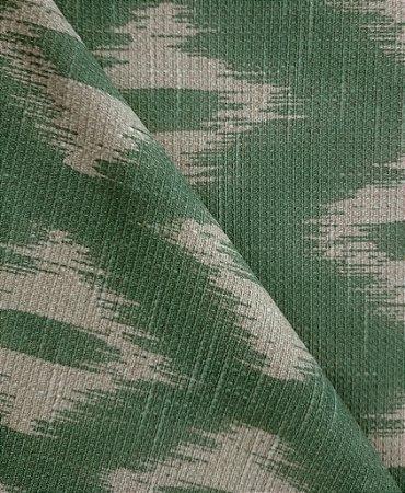 Tecido algodão impermeabilizado ikat Linhão Verde Selva Sev 27
