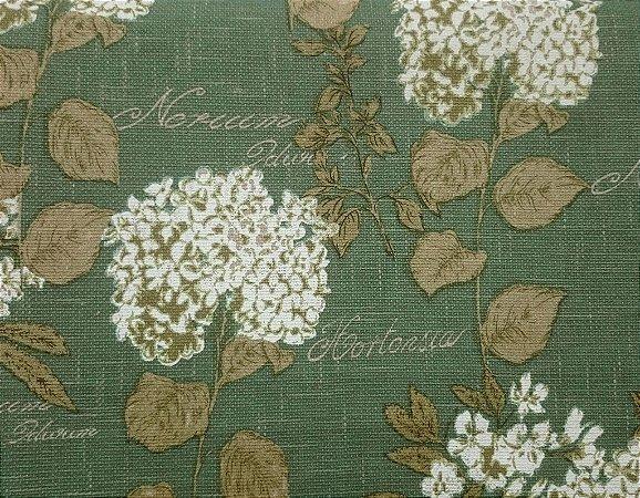 Tecido algodão impermeabilizado Floral Verde e Musgo Linhao Sev 29