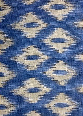 Tecido algodão impermeabilizado ikat Linhão Azul Sev 34