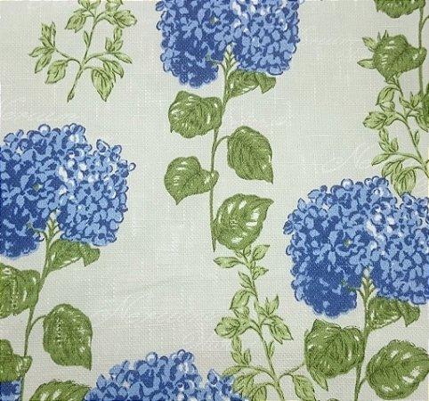 Tecido algodão impermeabilizado Linhão Floral Hortência Creme Azul Sev 36