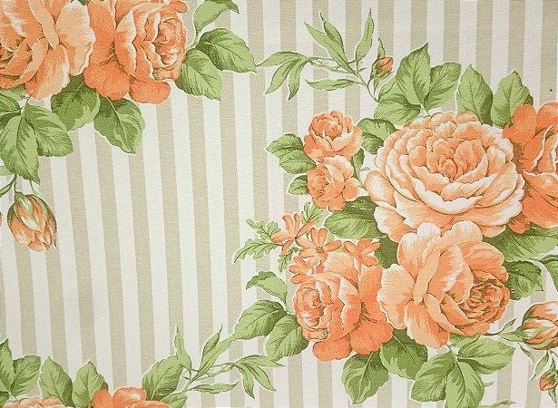 Tecido algodão impermeabilizado Listrado Creme Floral Verde Laranja Sev 38