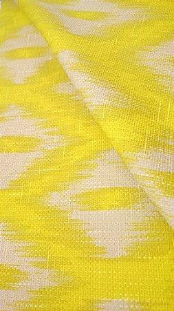 Tecido algodão impermeabilizado ikat Linhão Amarelo e Creme Sev 47