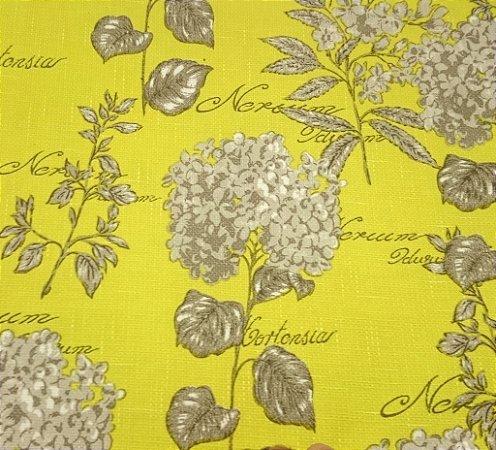 Tecido algodão impermeabilizado Linhao Hortencia Amarelo e Cinza Sev 49