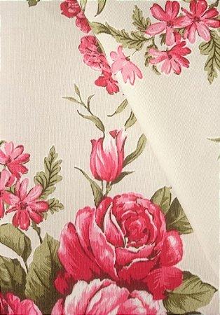 Tecido algodão impermeabilizado Liso Creme Floral Verde e Vermelho Sev 52