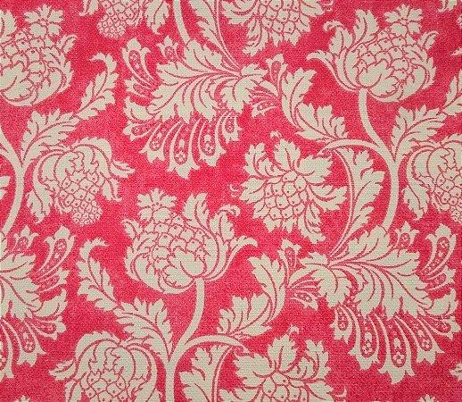 Tecido algodão impermeabilizado Linhão Floral Vermelho e Creme Sev 55