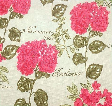 Tecido algodão impermeabilizado Linhão Floral Creme Verde e Vermelho Sev 56