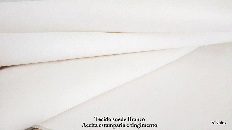 Tecido suede camurça branco liso - Com dublagem