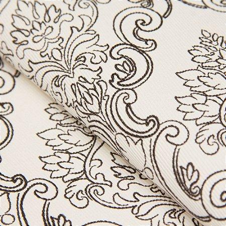 Papel de parede Brasões Fundo Creme e Brasões Preto Texturizado - Classici A91102