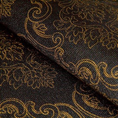 Papel de parede Brasões Fundo Preto e Brasões Dourado Texturizado - Classici A91105