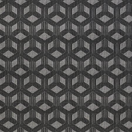 Tecido para Sofá Jacquard Geométrico Preto - Largura 1,40m - PIS-48
