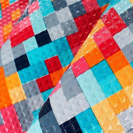 Tecido Corino Geometrico texturizado
