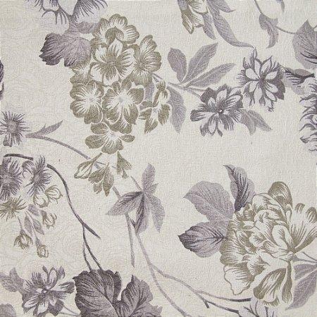 Tecido Jacard Impermeabilizado Floral Fundo Creme e rosa cinza e Bege - Coral 1
