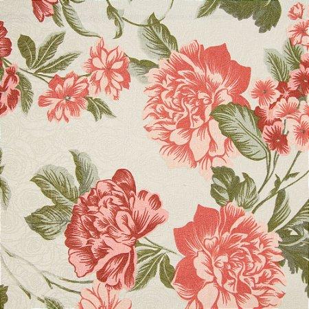 Tecido Jacard Floral Rose e vermelho e fundo creme - Coral 10