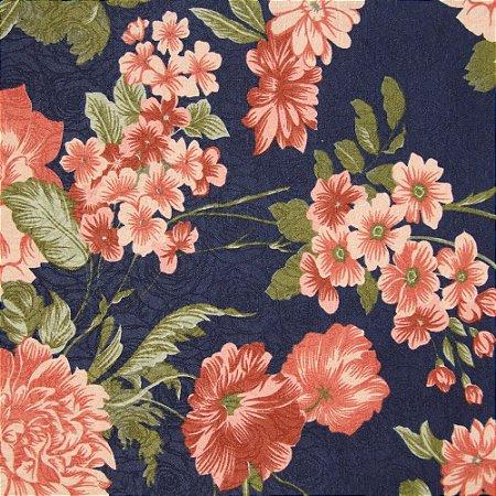 Tecido Jacard Impermeabilizado Rosas em Tons de Rose e fundo azul marinho - Coral 18