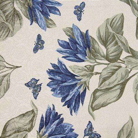 Tecido Jacard Impermeabilizado Floral Verde Azul e Borboletas com fundo creme - Coral 20