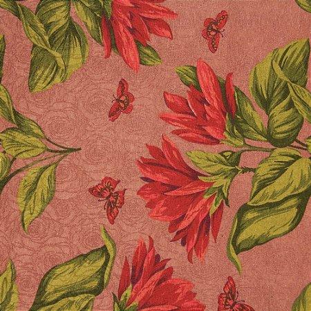Tecido Jacard Impermeabilizado Floral Vermelho e Verde, Borboletas vermelhas e fundo Rosa antigo - Coral 23
