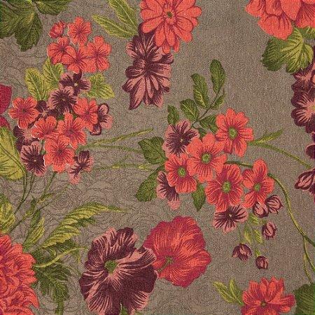 Tecido Jacard Impermeabilizado Floral Roxo, Rosa e Verde com fundo Marrom Claro - Coral 26