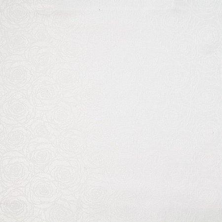 Tecido Jacard Impermeabilizado Floral Branco - Coral 39