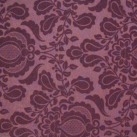 Tecido Jacard Impermeabilizado Brasão Floral Roxo e fundo Roxo Claro - Coral 43
