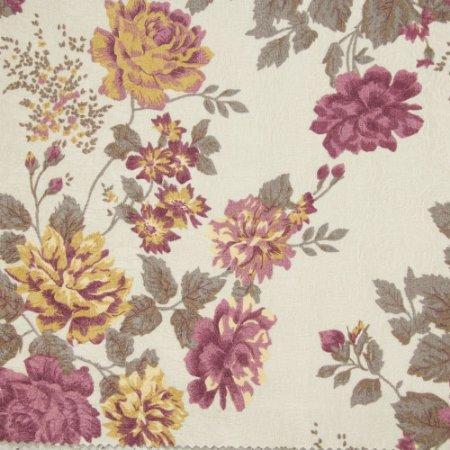 Tecido Jacard Impermeabilizado Floral Roxo, Bege e fundo creme - Coral 44