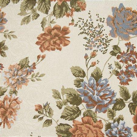 Tecido Jacard Impermeabilizado Floral Laranja antigo e fundo creme - Coral 50