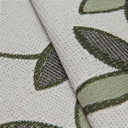Tecido Estilo Linho Floral Verde Claro com fundo cinza claro - Safira 4
