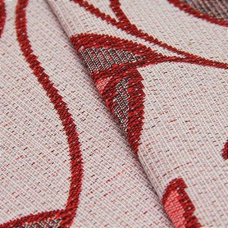 Tecido Estilo Linho Floral Vermelho com fundo Areia - Safira 14