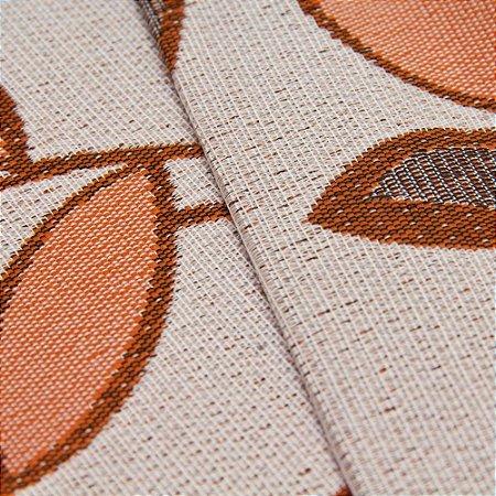 Tecido Estilo Linho Floral Laranja com fundo Areia - Safira 16