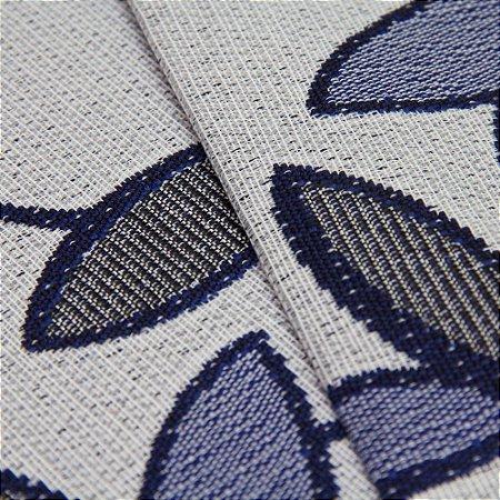Tecido Estilo Linho Floral Azul com fundo cinza Claro - Safira 18