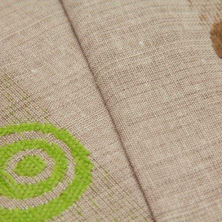 Tecido Estilo Linho Circulos Marrom e Verde com fundo marrom claro - Safira 35