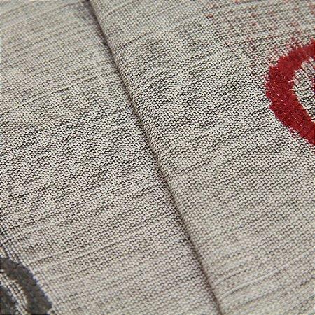 Tecido Estilo Linho Circulos Preto, Cinza e Vermelho escuro com fundo cinza - Safira 41