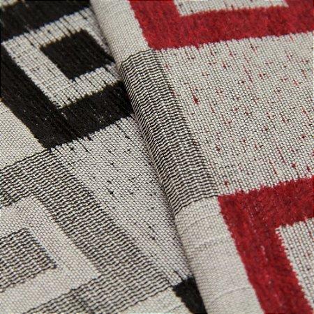 Tecido Estilo Linho Quadriculado Preto, Cinza e Vermelho - Safira 55
