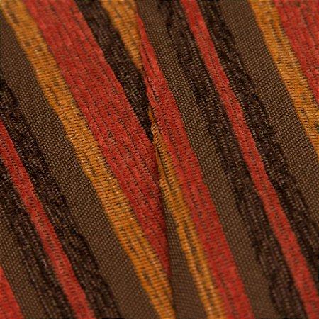 Tecido Estilo Linho Listrados Marrom, Abobora e Vermelho Queimado - Safira 56