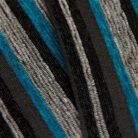 Tecido Estilo Linho Listrados Preto, Chumbo, cinza e Azul turquesa - Safira 58