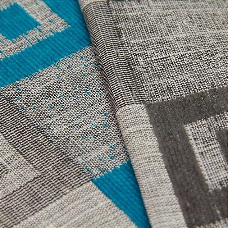 Tecido Estilo Linho Quadriculado Preto, Cinza e Azul Turquesa - Safira 59