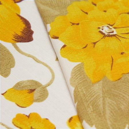 Tecido Floral Rosa e Amarelo com fundo Branco - Turquesa 7