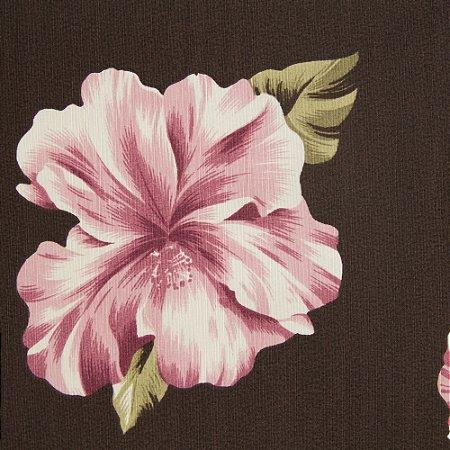 Tecido Floral Lilas e Verde com fundo Marrom - Turquesa 14