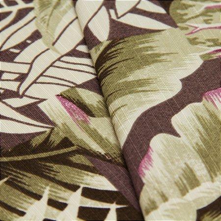 Tecido Floral Estilo Patchwork Lilas e Verde com fundo Marrom - Turquesa 15