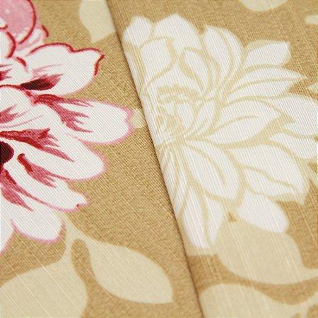 Tecido Floral Bordô, Branco, Lilas e Verde com fundo Bege - Turquesa 25