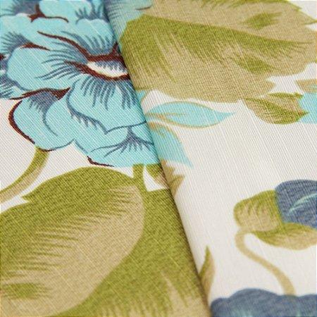 Tecido Floral tons de Azul e verde com fundo creme - Turquesa 29