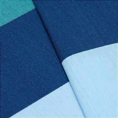 Tecido Listrado Grosso Azul, Verde e Azul claro - Turquesa 34