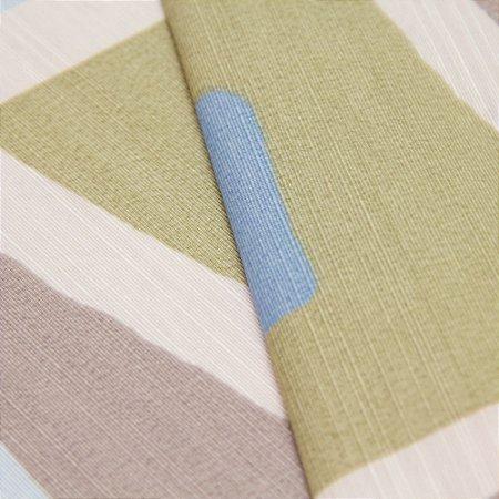 Tecido Quadrados Abstratos Azul, Verde, Marrom Claro e Creme - Turquesa 38